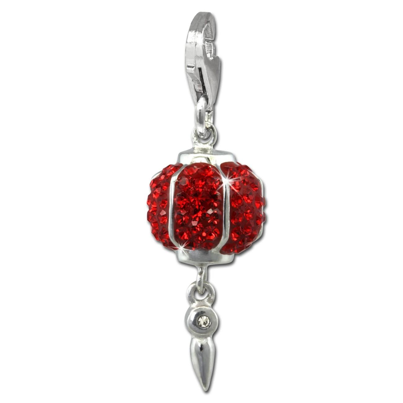 SilberDream Glitzer Charm Chinesischer Lampion Zirkonia Kristalle GSC568R