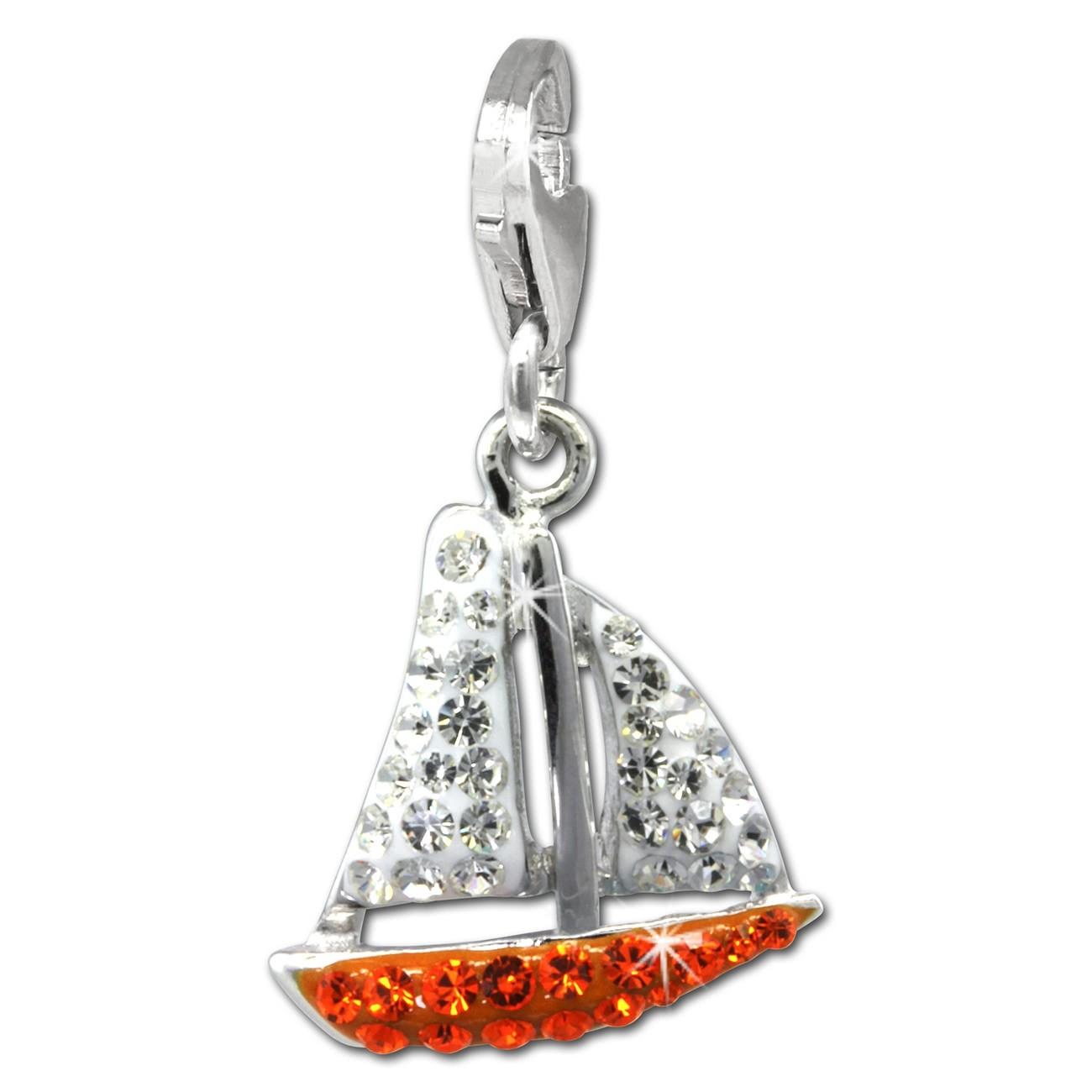 SilberDream Glitzer Charm Segelboot orange Zirkonia Kristalle GSC569O