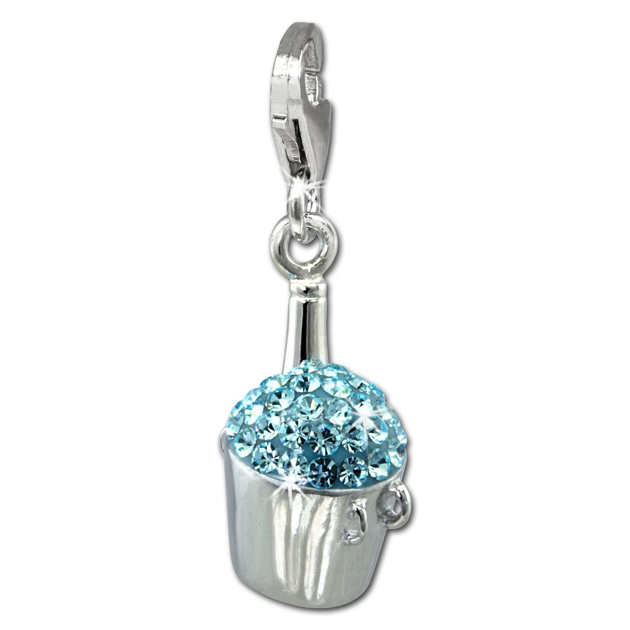 SilberDream Glitzer Charm Sektkühler hellblau Zirkonia Kristalle GSC573H