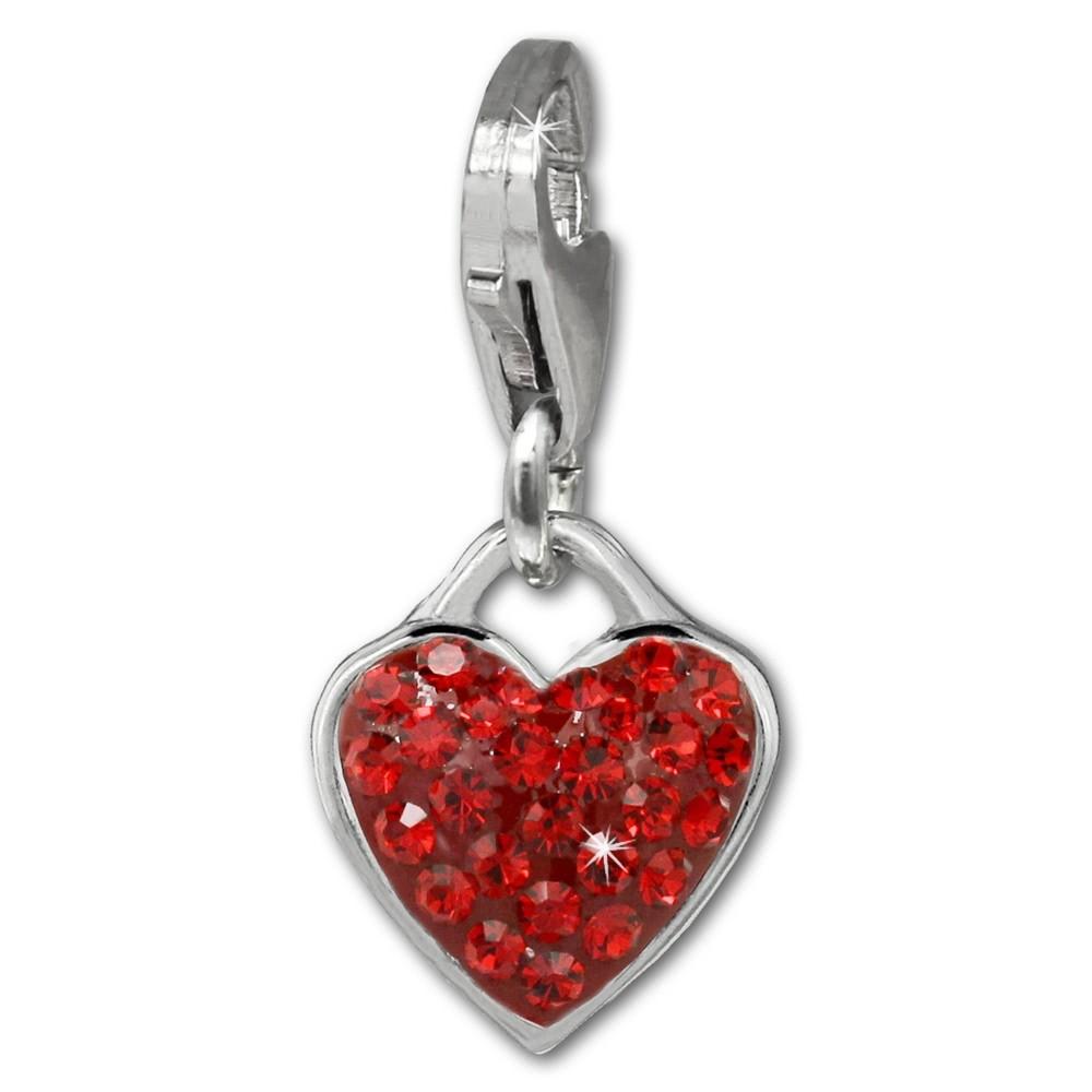 SilberDream Glitzer Charm Herz rot Zirkonia Kristalle GSC581R