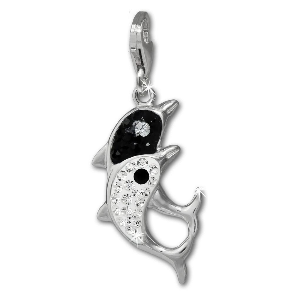 SilberDream Glitzer Charm Delfin-Paar weiß Zirkonia Kristalle GSC582W