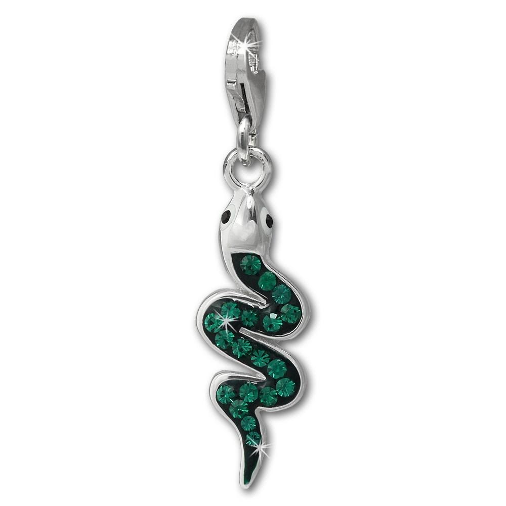 SilberDream Glitzer Charm Schlange grün Zirkonia Kristalle GSC585G