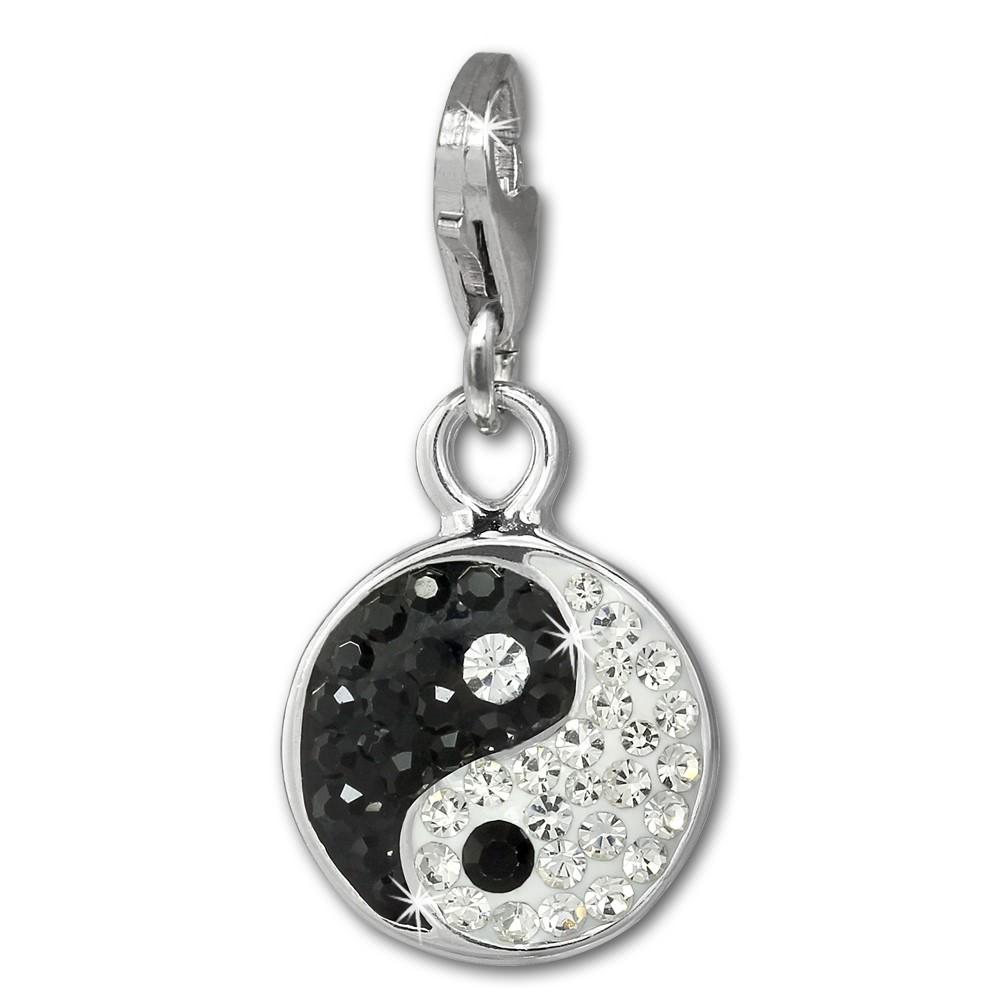 SilberDream Glitzer Charm Yin Yang schwarz/weiß Zirkonia Kristalle GSC586S