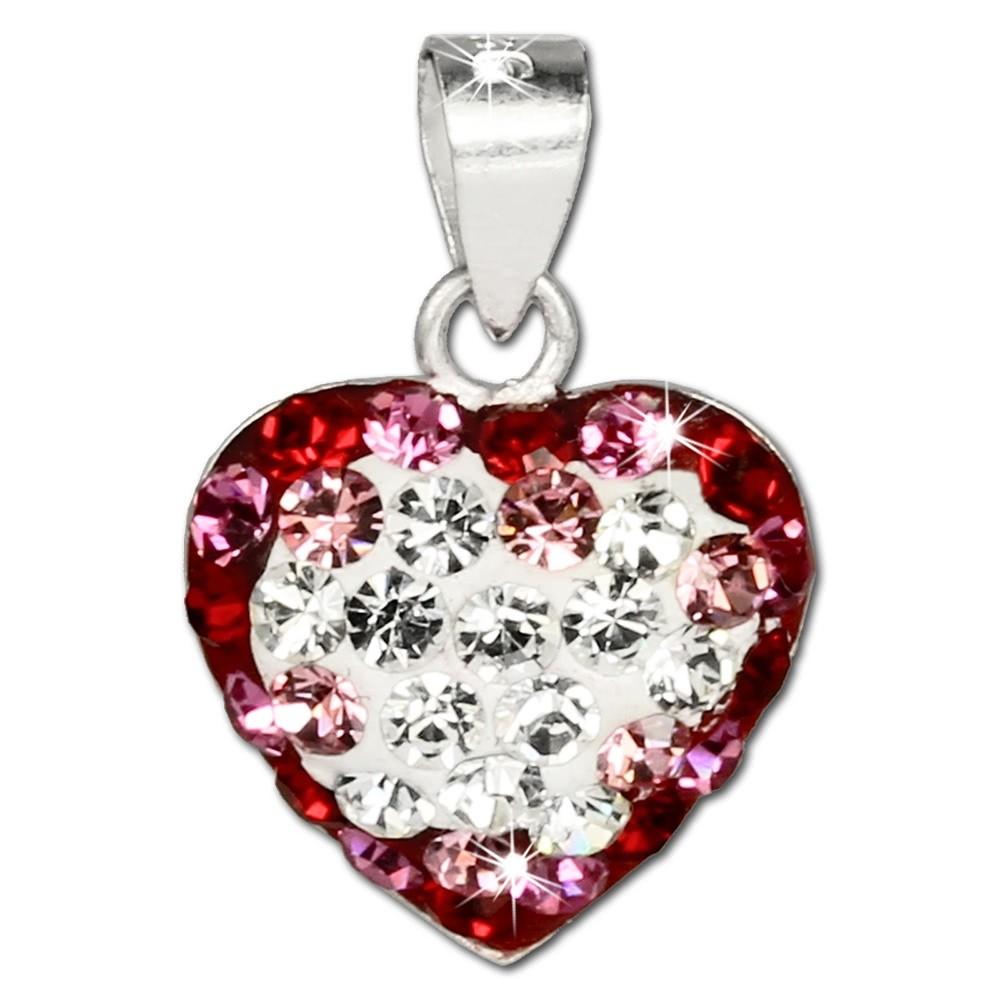 SilberDream Glitzer Anhänger Herz Zirkonia Kristalle rot 925 GSH004