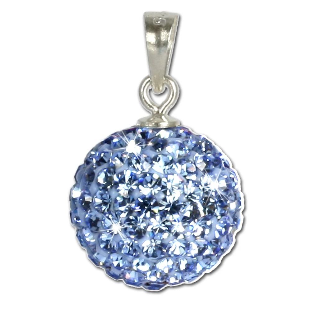 SilberDream Glitzer Anhänger Swarovski Elements blau shiny GSH201