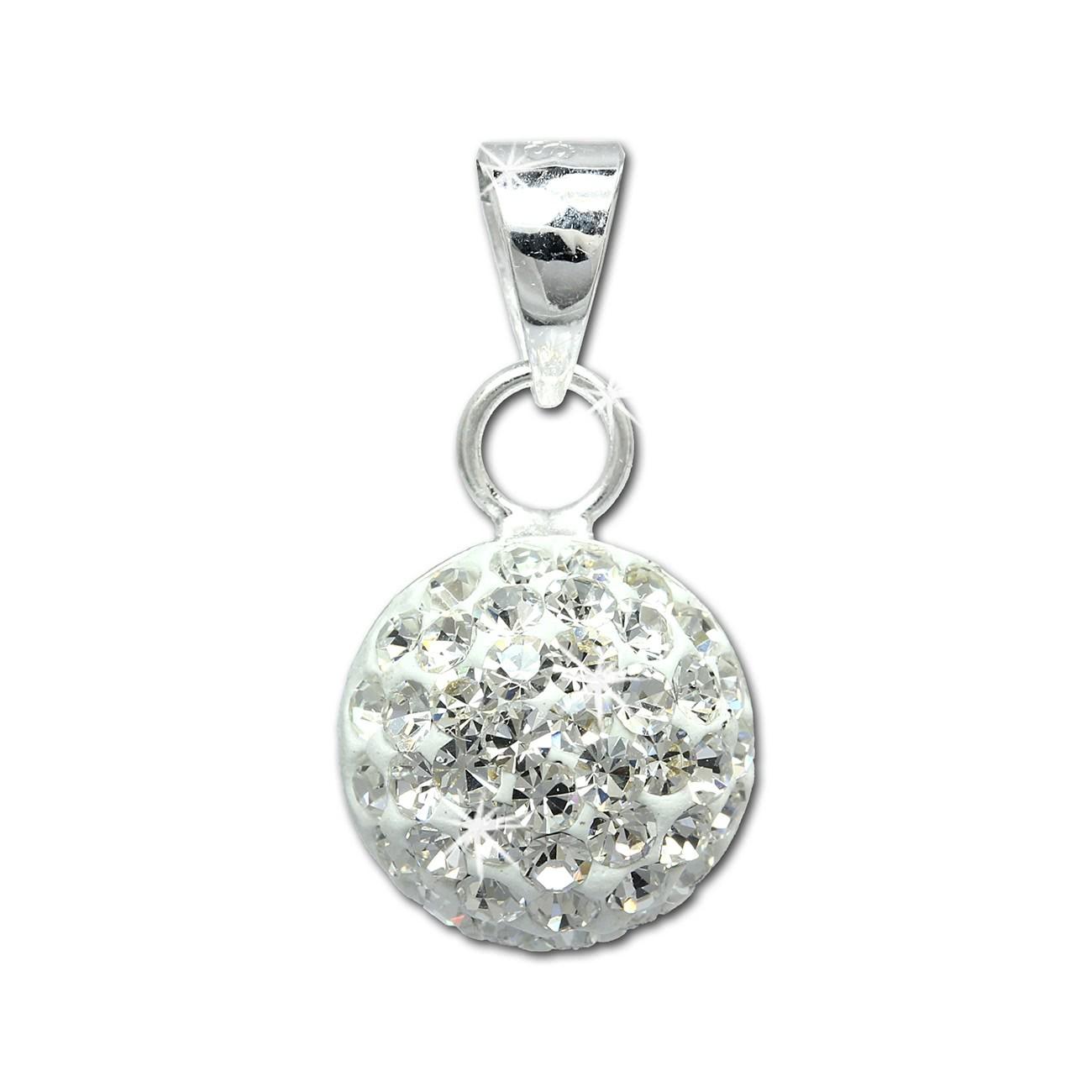 SilberDream Glitzer Anhänger rund Zirkonia Kristall weiß 925 GSH206W