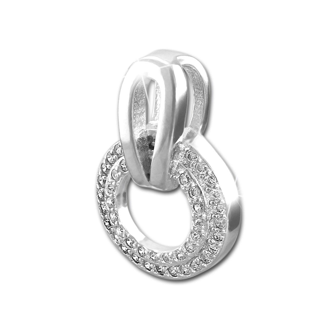 SilberDream Glitzer Kettenanhänger Round Zirkonia weiß Damen 925 Silber GSH403W