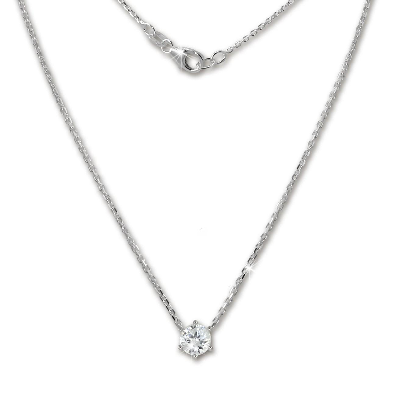 SilberDream Kette Zirkonia Stein weiß 925er Silber 42cm Halskette GSK20042W