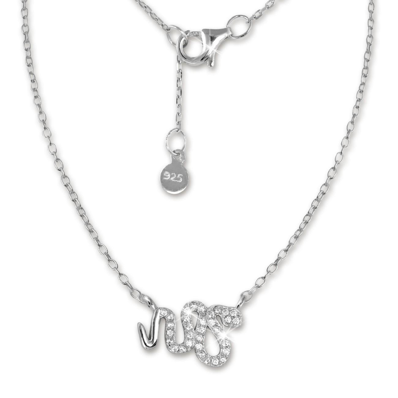 SilberDream Kette Schlange Zirkonia weiß 925er Silber 41-44cm Halskette GSK400W