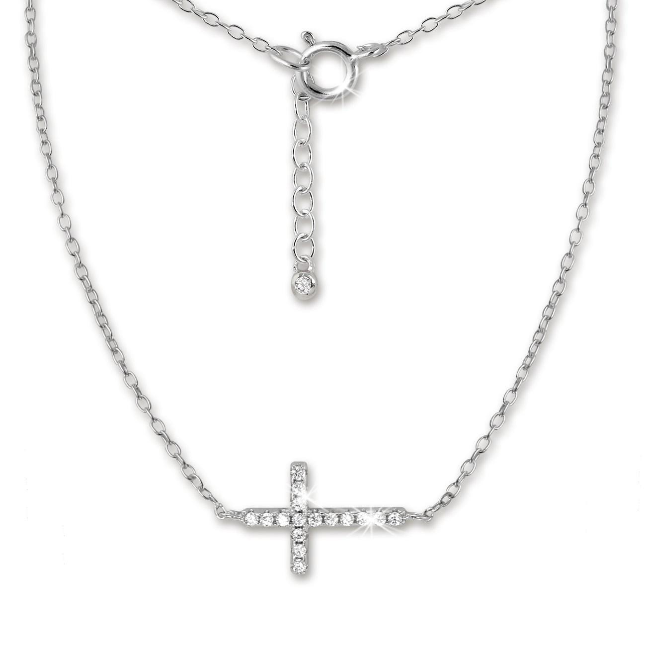 SilberDream Kette Kreuz Zirkonia weiß 925er Silber 43-46cm Halskette GSK402W