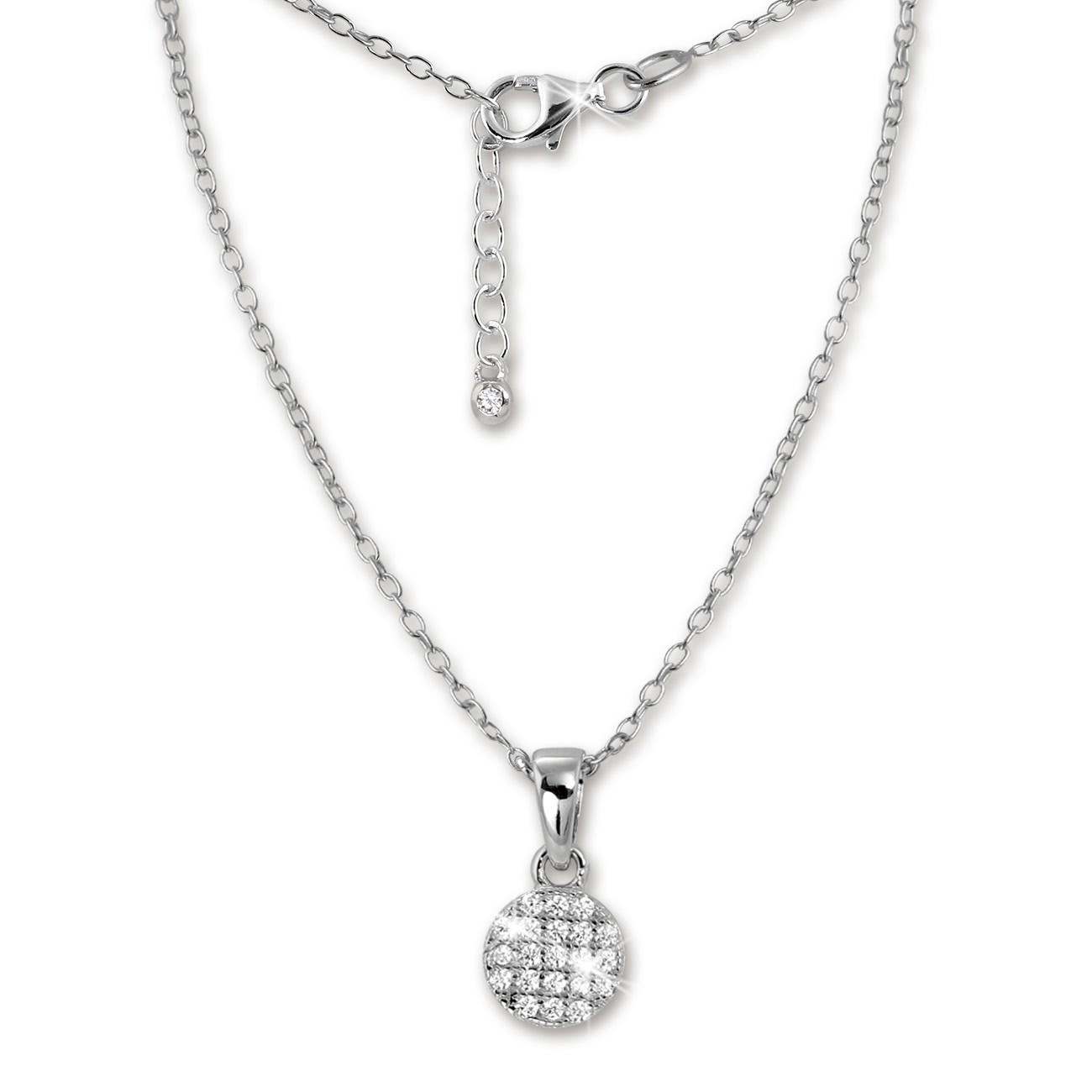 SilberDream Kette Circle Zirkonia weiß 925er Silber 42-45cm Halskette GSK403W