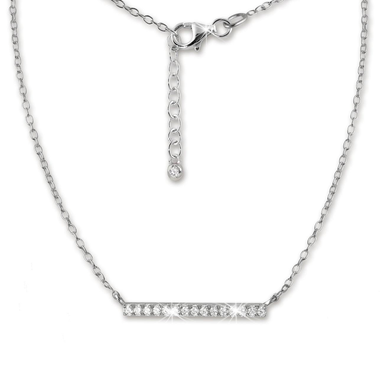 SilberDream Kette Glamour Zirkonia weiß 925er Silber 42-45cm Halskette GSK404W