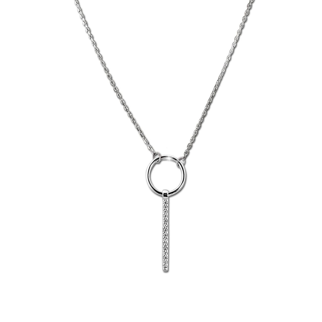 SilberDream Kette Zirkonia-Stab weiß 925 Silber 42-45cm Halskette GSK405W