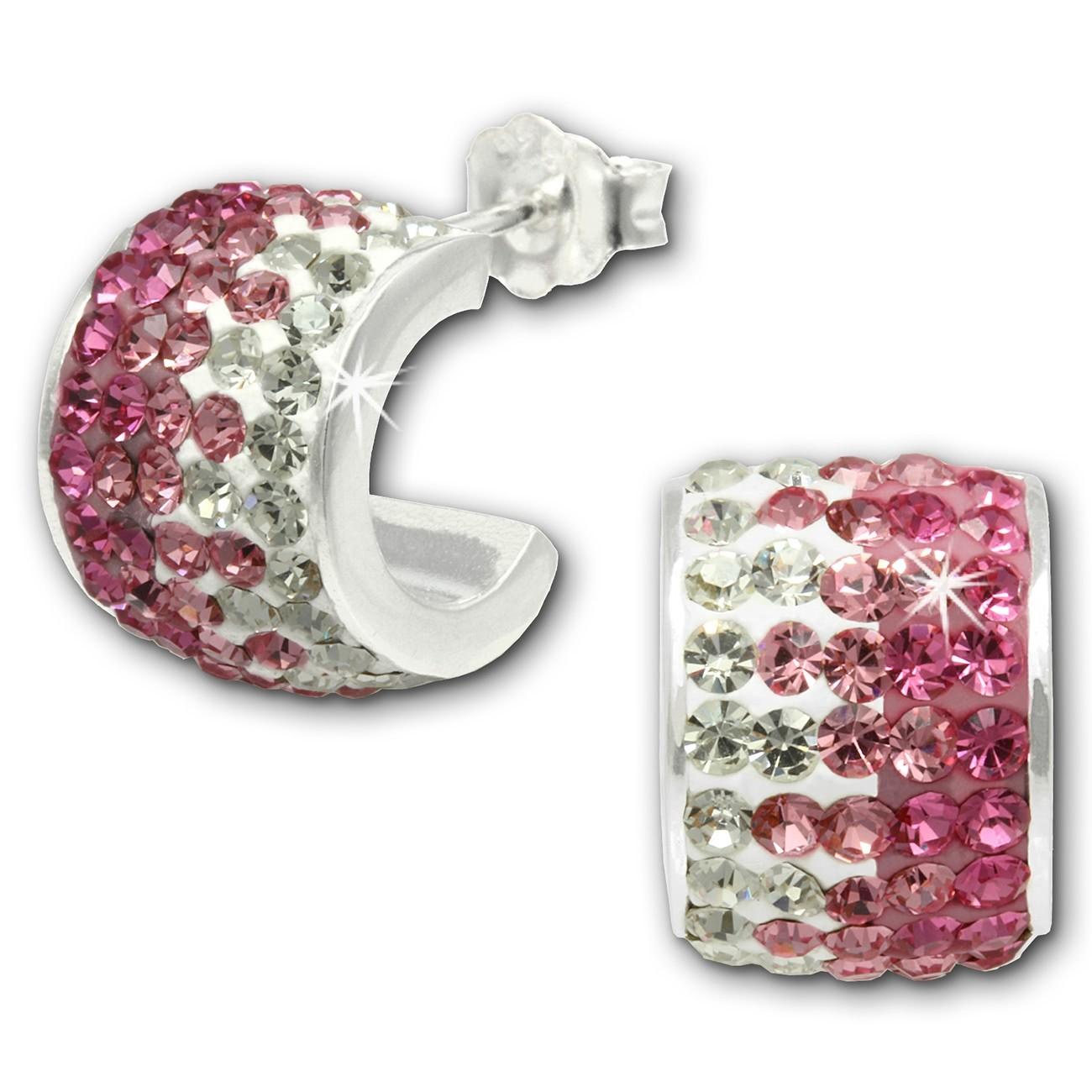 SilberDream Glitzer Creole Beauty Preciosa Kristalle rosa GSO010A