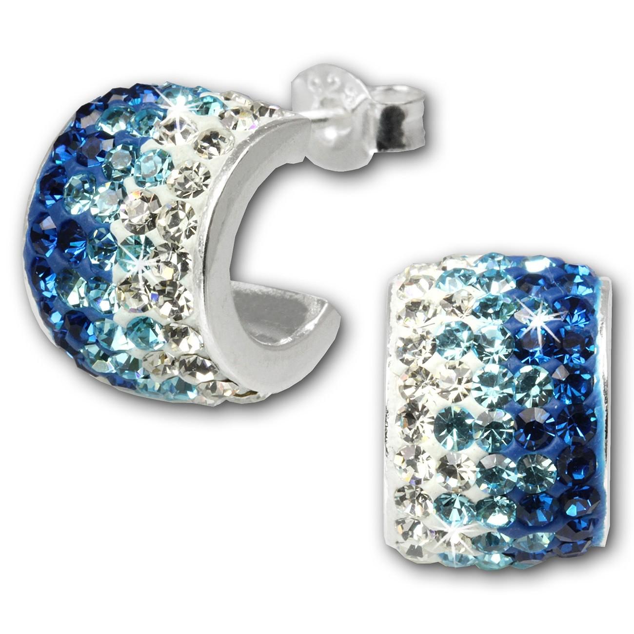 SilberDream Glitzer Creole Beauty Preciosa Kristalle blau GSO010B