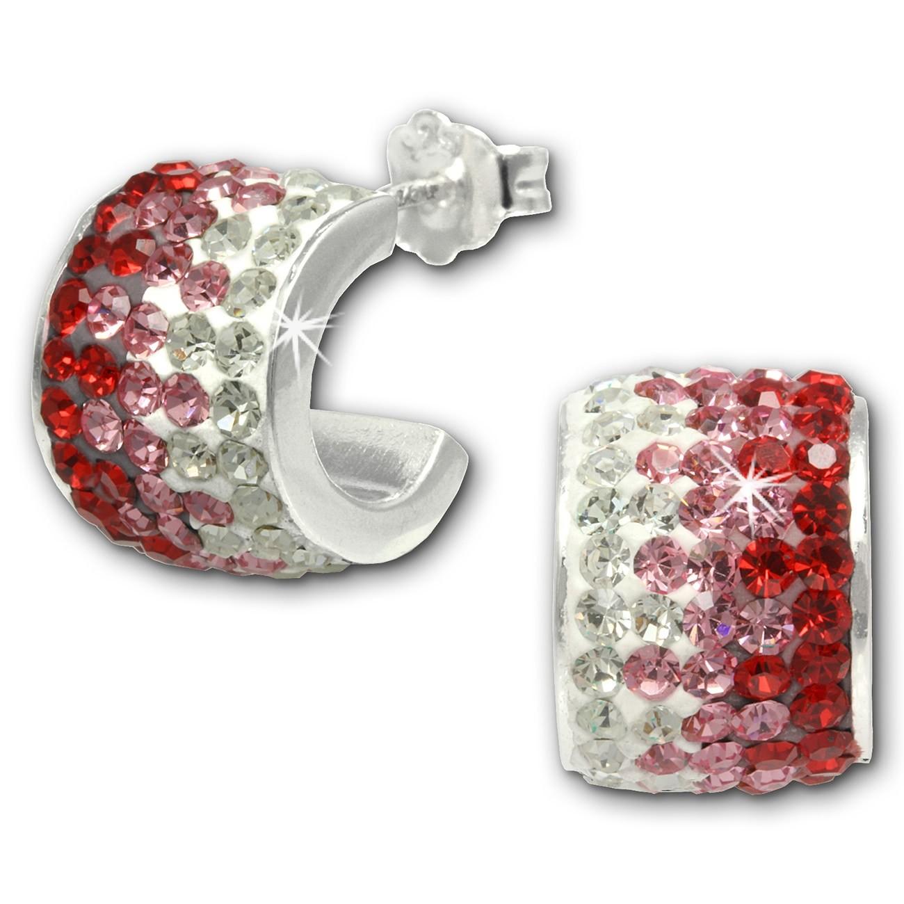 SilberDream Glitzer Creole Beauty Preciosa Kristalle rot GSO010R