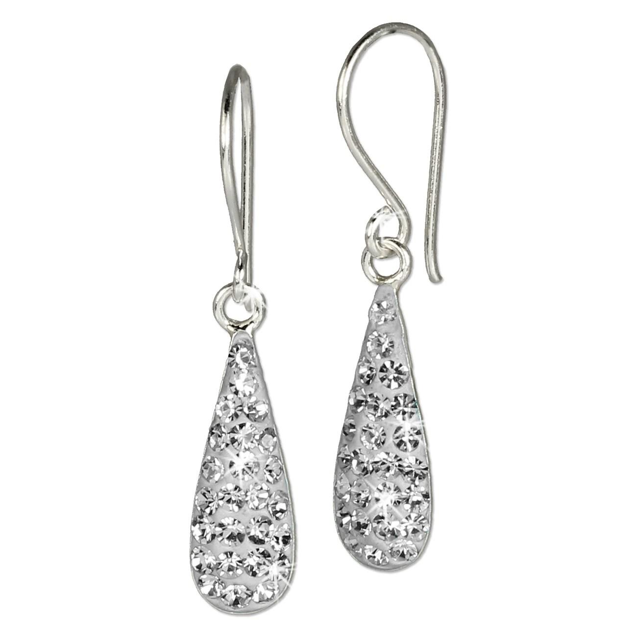 SilberDream Glitzer Ohrhänger Silber Zirkonia Kristall weiß GSO208W