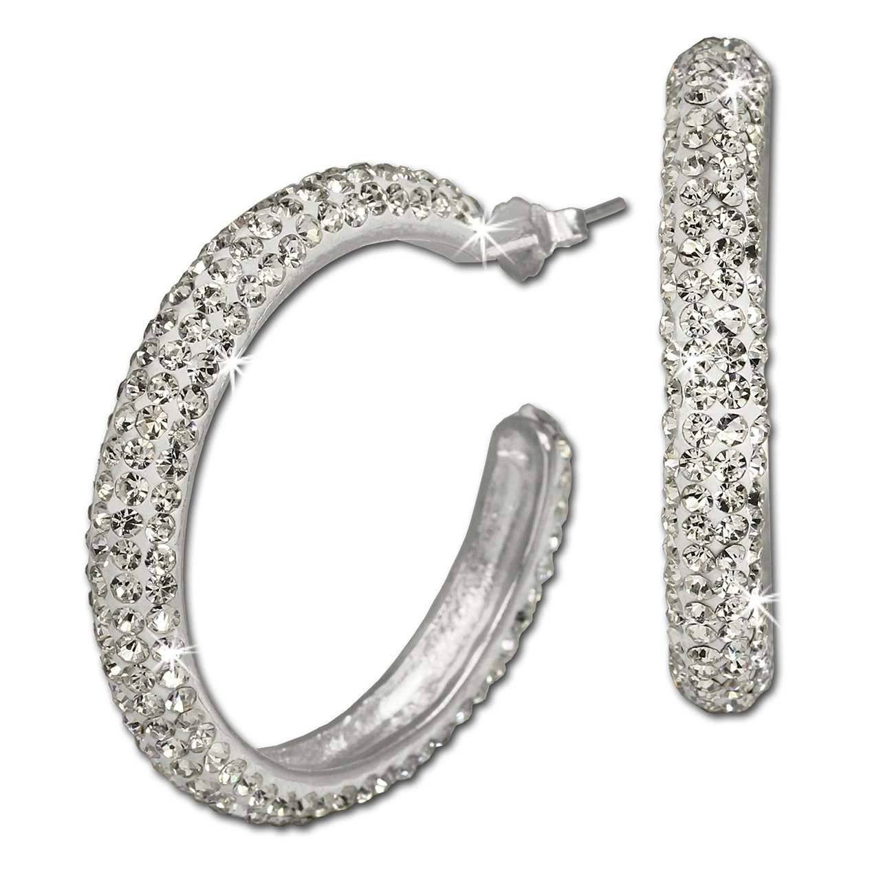 SilberDream Glitzer Creole Glamour weiß Swarovski Elements GSO212W