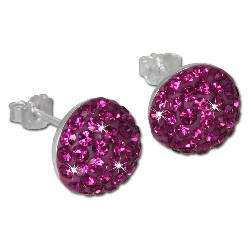 SilberDream Glitzer Ohrring Circle pink Zirkonia Kristalle GSO215P