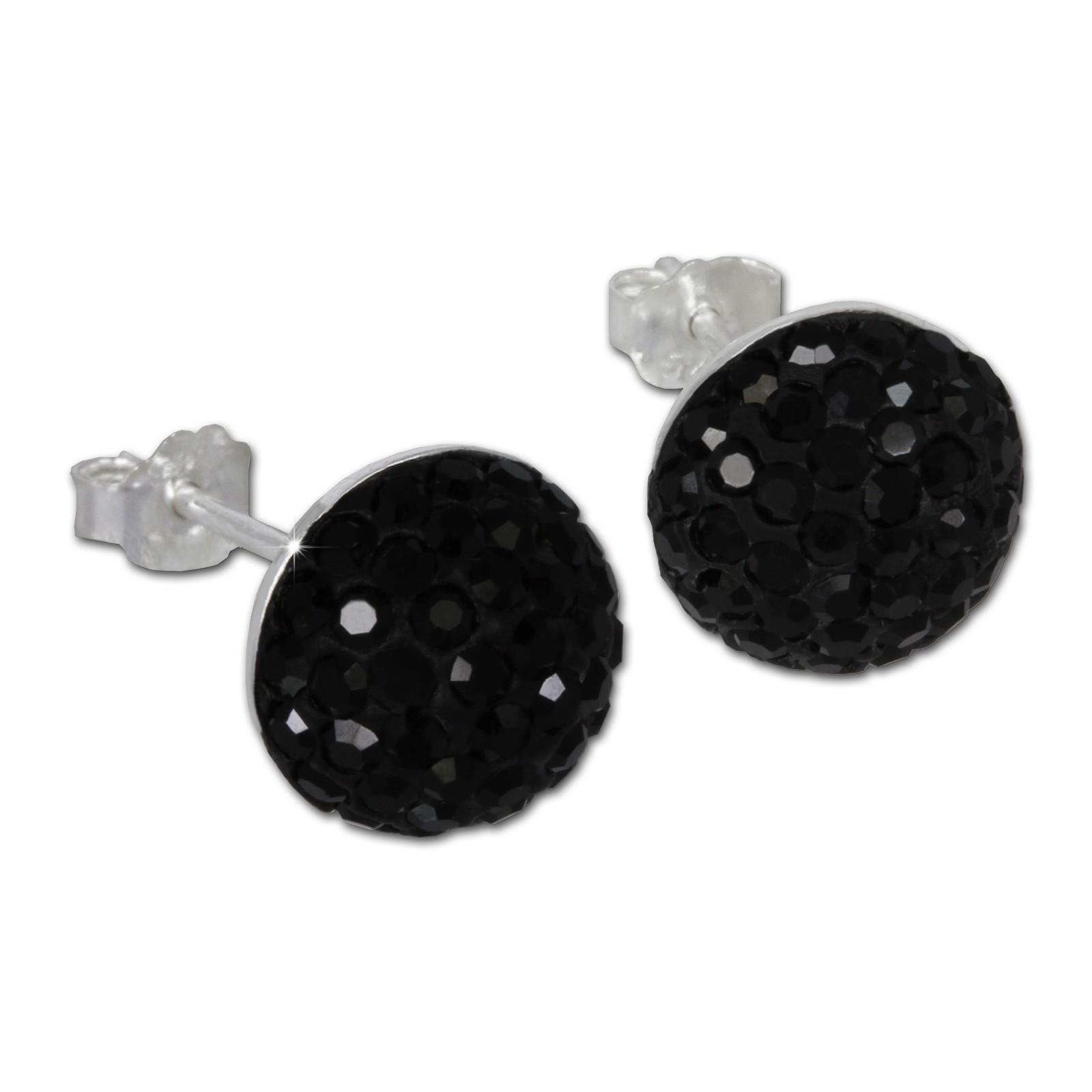 SilberDream Glitzer Ohrring Circle schwarz Zirkonia Kristalle GSO215S
