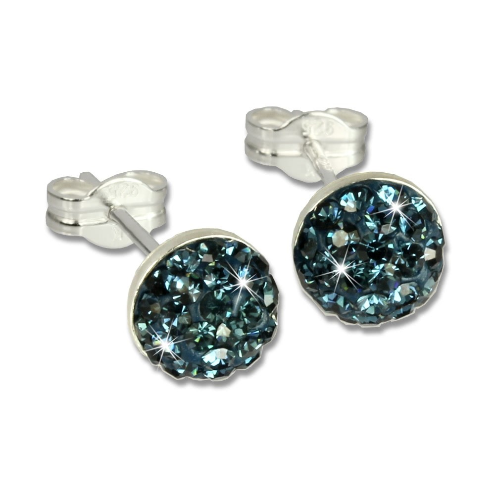 SilberDream Ohrstecker Halbkugel blau 925er Glitzer Kristalle GSO217B