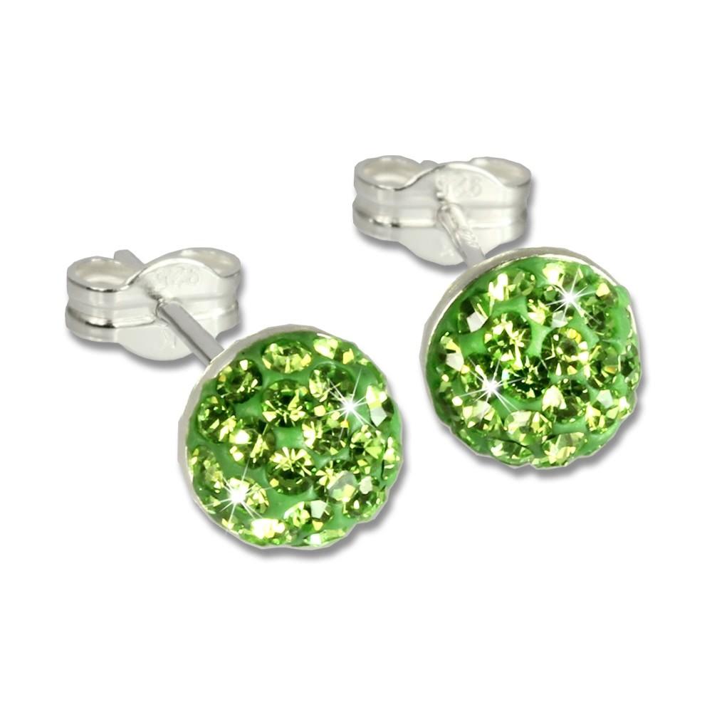 SilberDream Ohrstecker Halbkugel grün 925er Glitzer Kristalle GSO217L