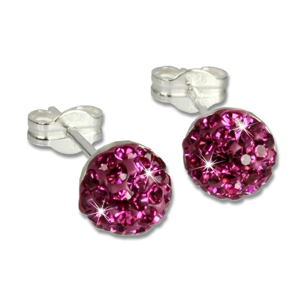 SilberDream Ohrstecker Halbkugel pink 925er Glitzer Kristalle GSO217P