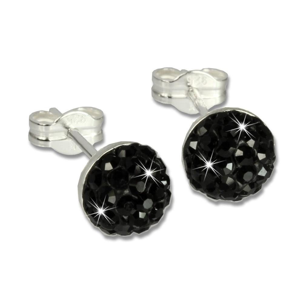 SilberDream Ohrstecker Halbkugel schwarz Glitzer Kristalle GSO217S