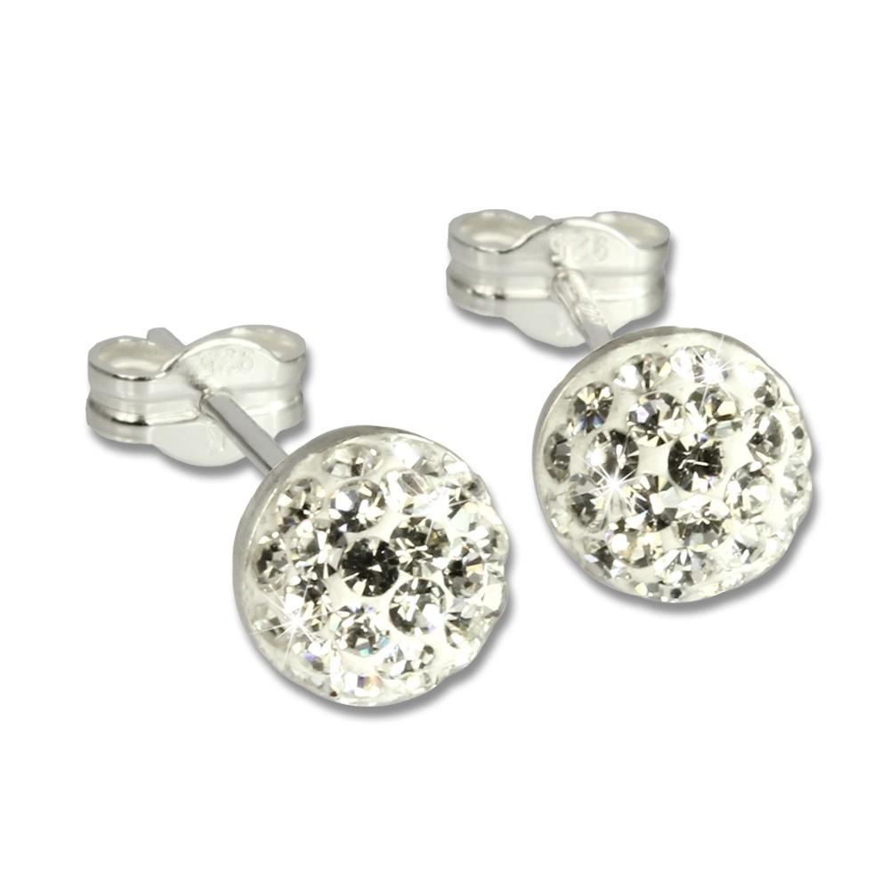 SilberDream Ohrstecker Halbkugel weiß 925er Glitzer Kristalle GSO217W