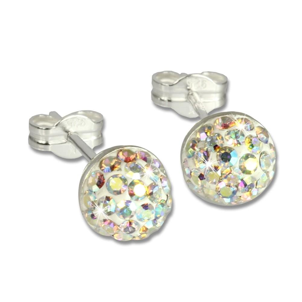 SilberDream Ohrstecker Halbkugel kristall Glitzer Kristalle GSO217Z