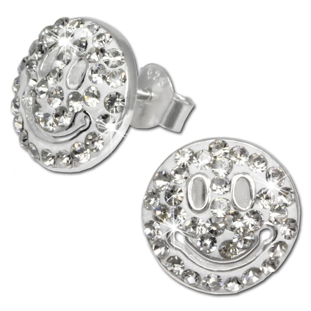 SilberDream Glitzer Ohrstecker Smiley weiß 925 Silber GSO218W