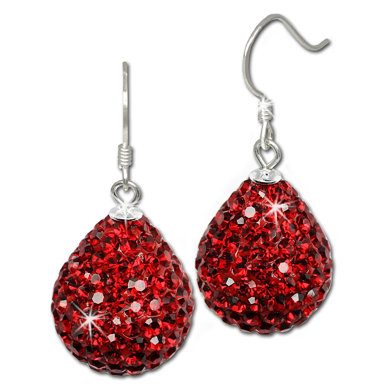 SilberDream Glitzer Ohrhänger Tropfen rot 925er Damen Ohrring GSO220R