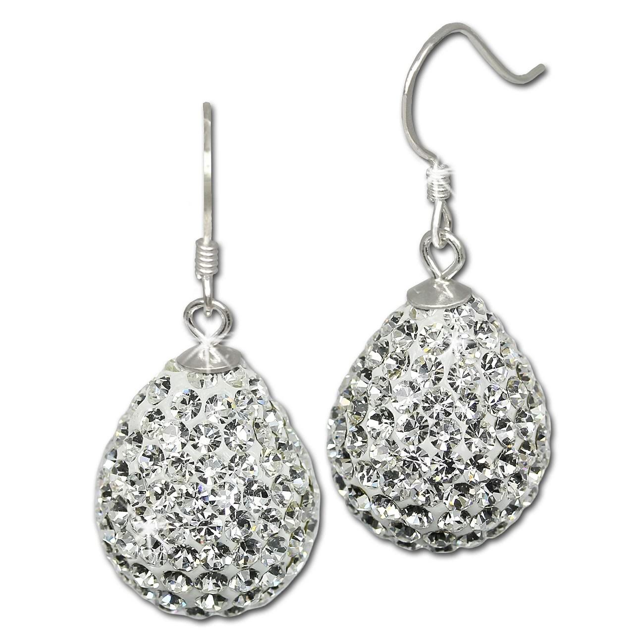 SilberDream Glitzer Ohrhänger Tropfen weiß 925er Damen Ohrring GSO220W