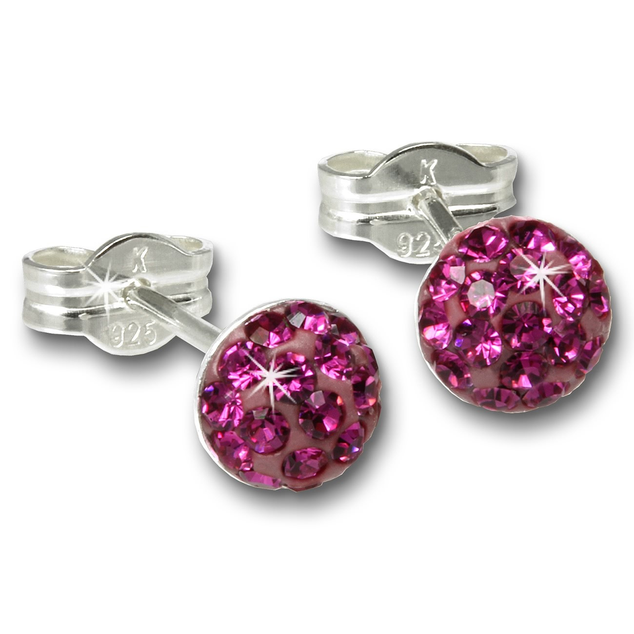 SilberDream Ohrstecker Halbkugel pink 925 Glitzer Kristalle GSO221P