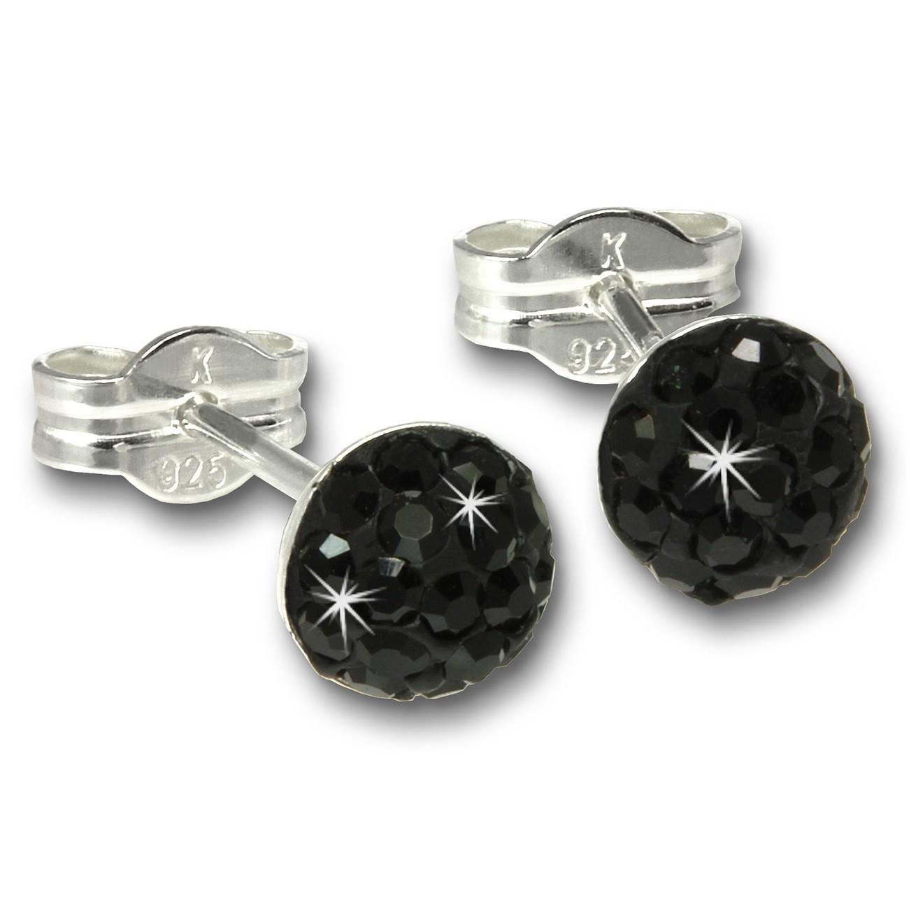SilberDream Ohrstecker Halbkugel schwarz 925 Glitzer Kristalle GSO221S