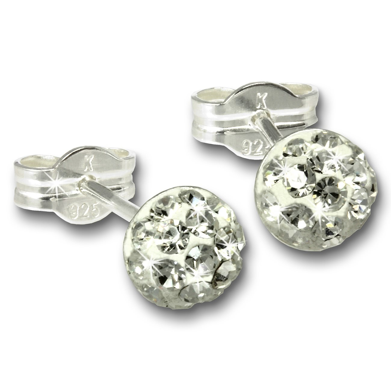 SilberDream Ohrstecker Halbkugel weiß Glitzer Kristalle GSO221W