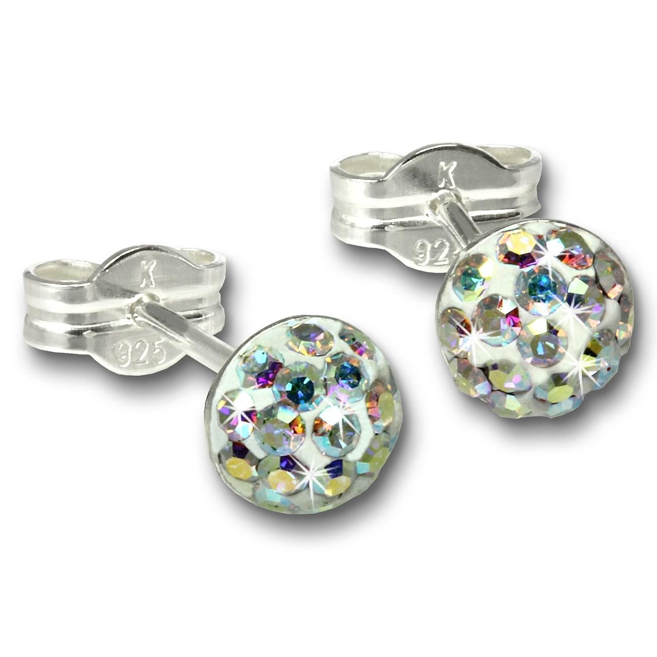 SilberDream Ohrstecker Halbkugel kristall Glitzer Kristalle GSO221Z