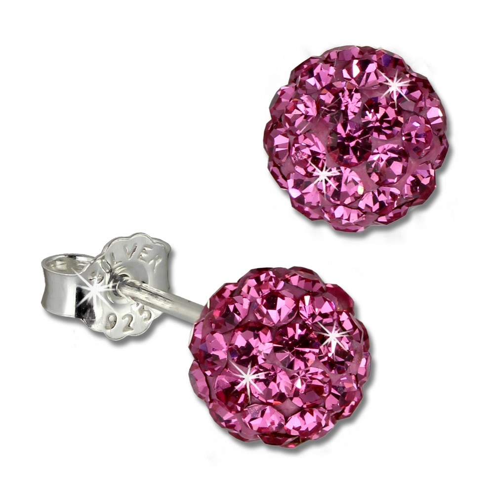 SilberDream Ohrstecker Glitzerkugel 6mm pink 925 Silber Ohrring GSO2806P