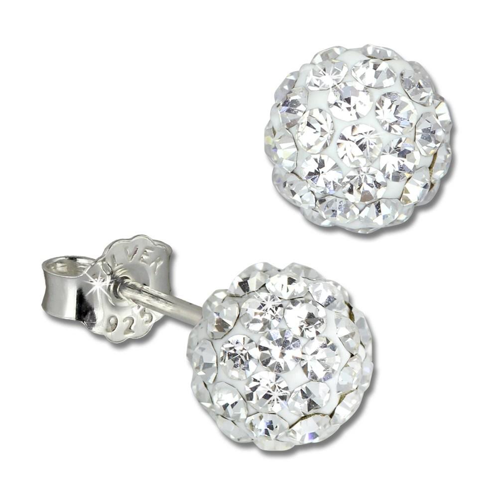 SilberDream Ohrstecker Glitzerkugel 6mm weiß 925 Silber Ohrring GSO2806W