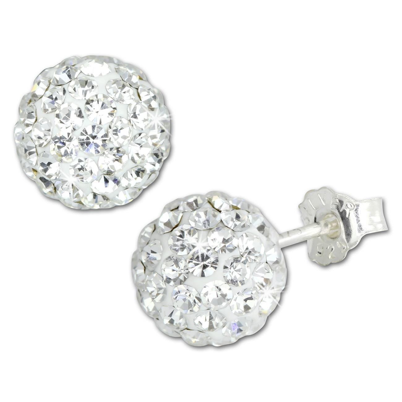 SilberDream Ohrstecker Glitzerkugel 8mm weiß 925 Silber Ohrring GSO2808W