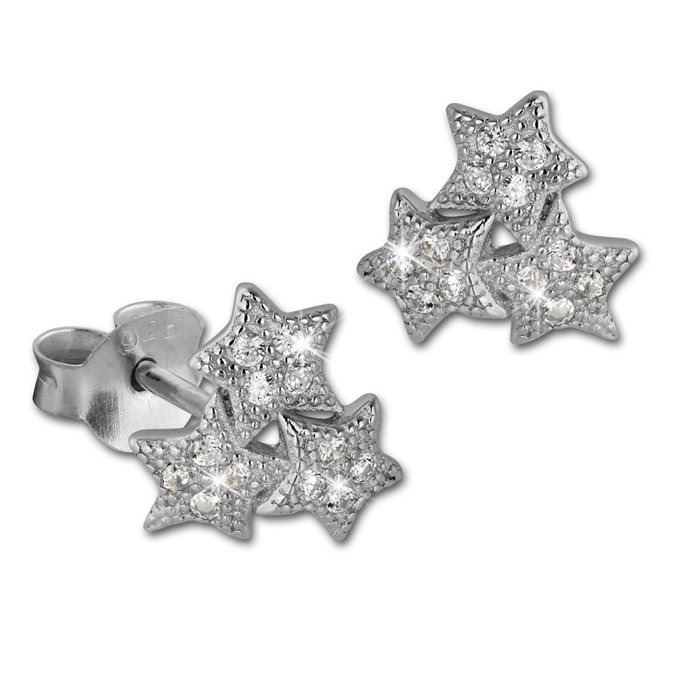 SilberDream Ohrring Sterne weiß 925er Silber Ohrstecker GSO2900J