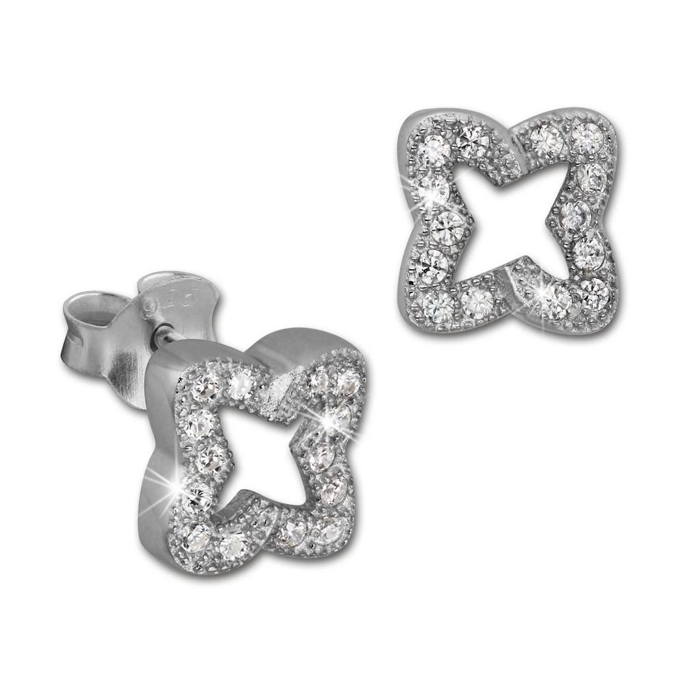 SilberDream Ohrring Kleeblatt weiß 925er Silber Ohrstecker GSO2902J