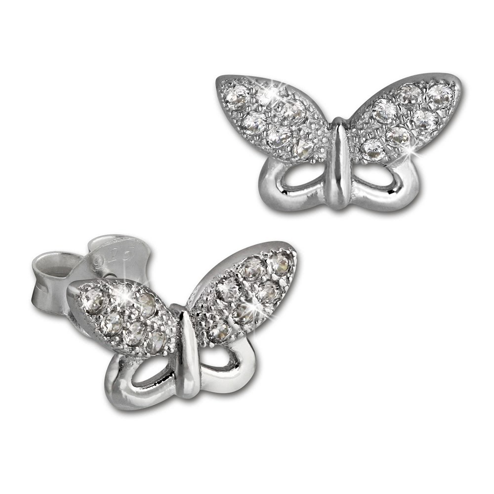 SilberDream Ohrring Schmetterling weiß 925er Silber Ohrstecker GSO2903J