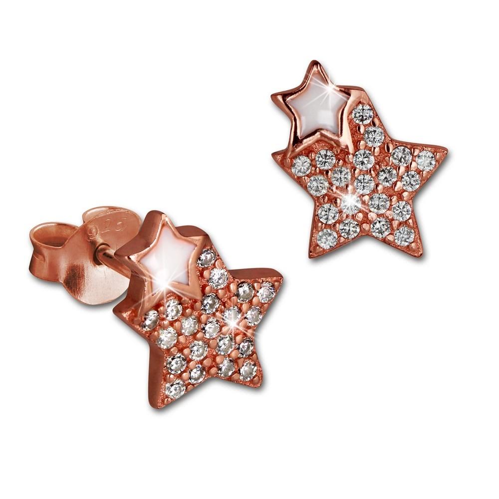 SilberDream Ohrring Sterne rose vergoldet 925er Silber Ohrstecker GSO2904E