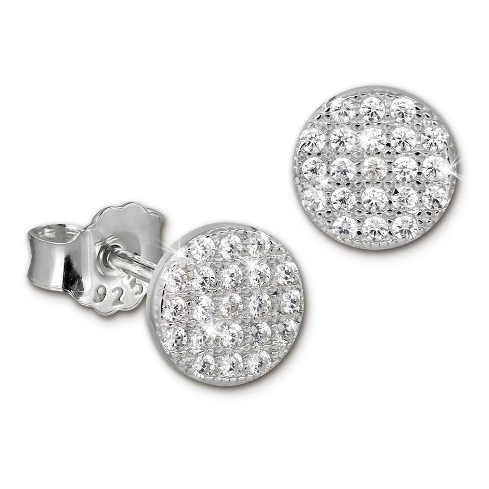 SilberDream Glitzer Ohrstecker Circle weiß 925er Silber Ohrring GSO407W