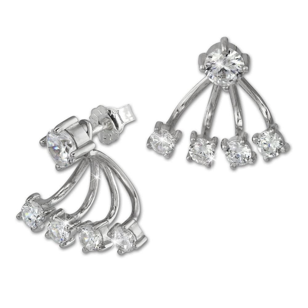 SilberDream Ohrstecker Dangle Ear Cuff Zirkonia rund weiß 925 Silber GSO421W