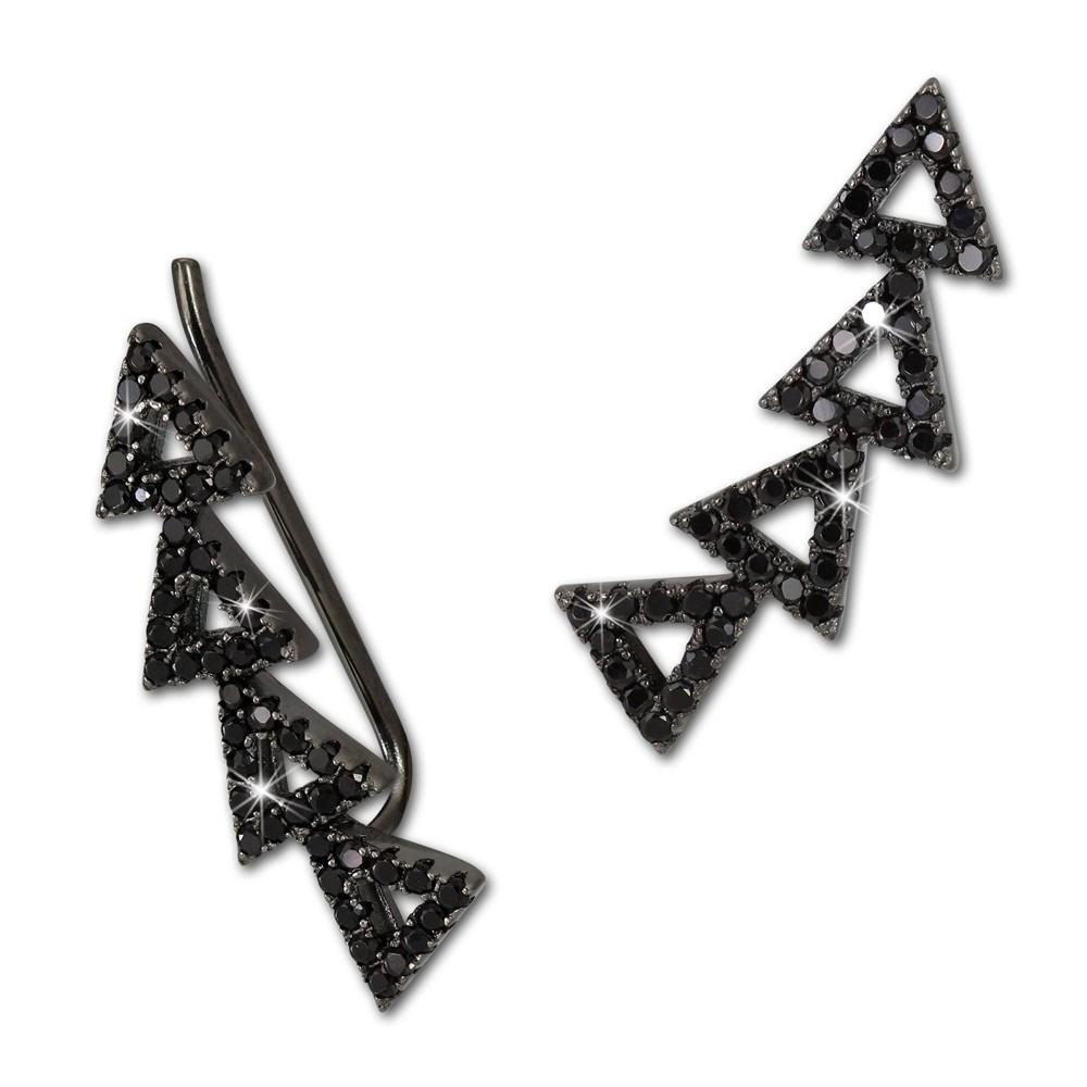 SilberDream Ear Cuff Dreiecke Zirkonia schwarz Ohrringe 925 Silber GSO426S