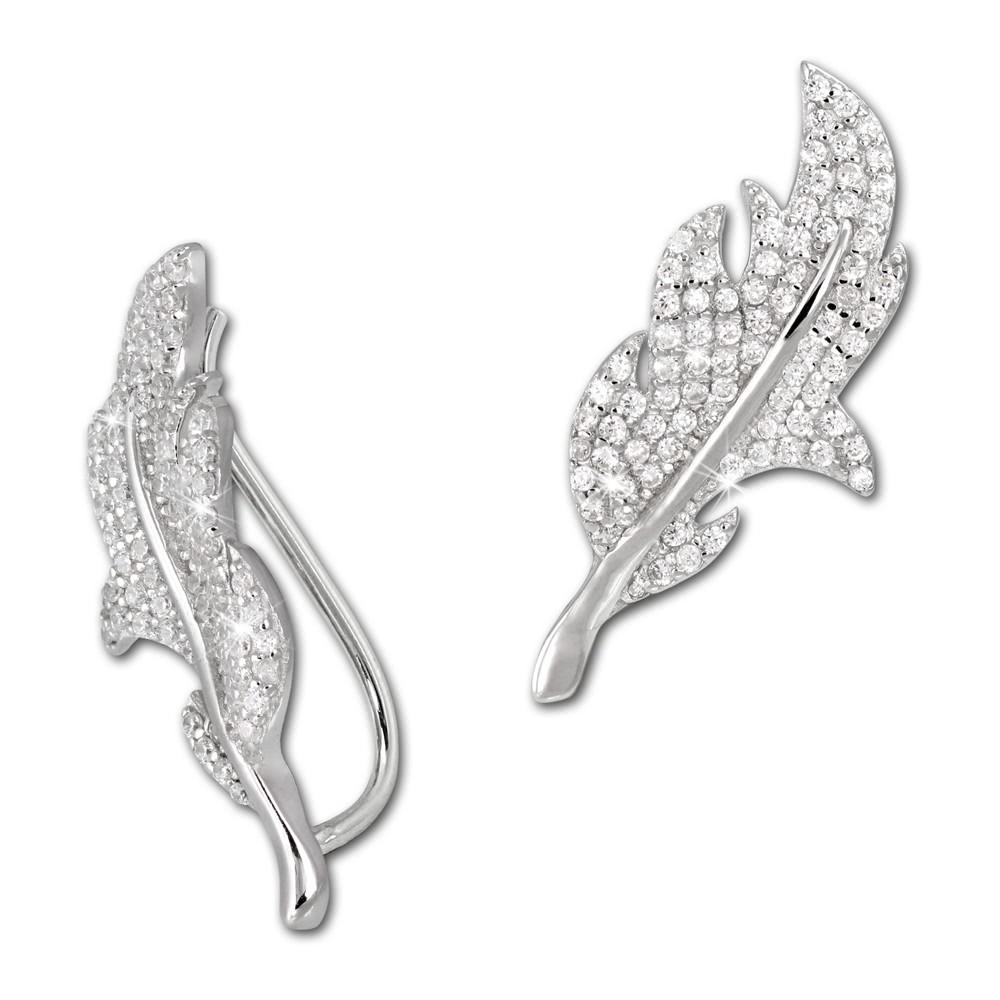 SilberDream Ear Cuff Blatt Zirkonia Ohrringe Ohrklemme 925 Silber GSO428W