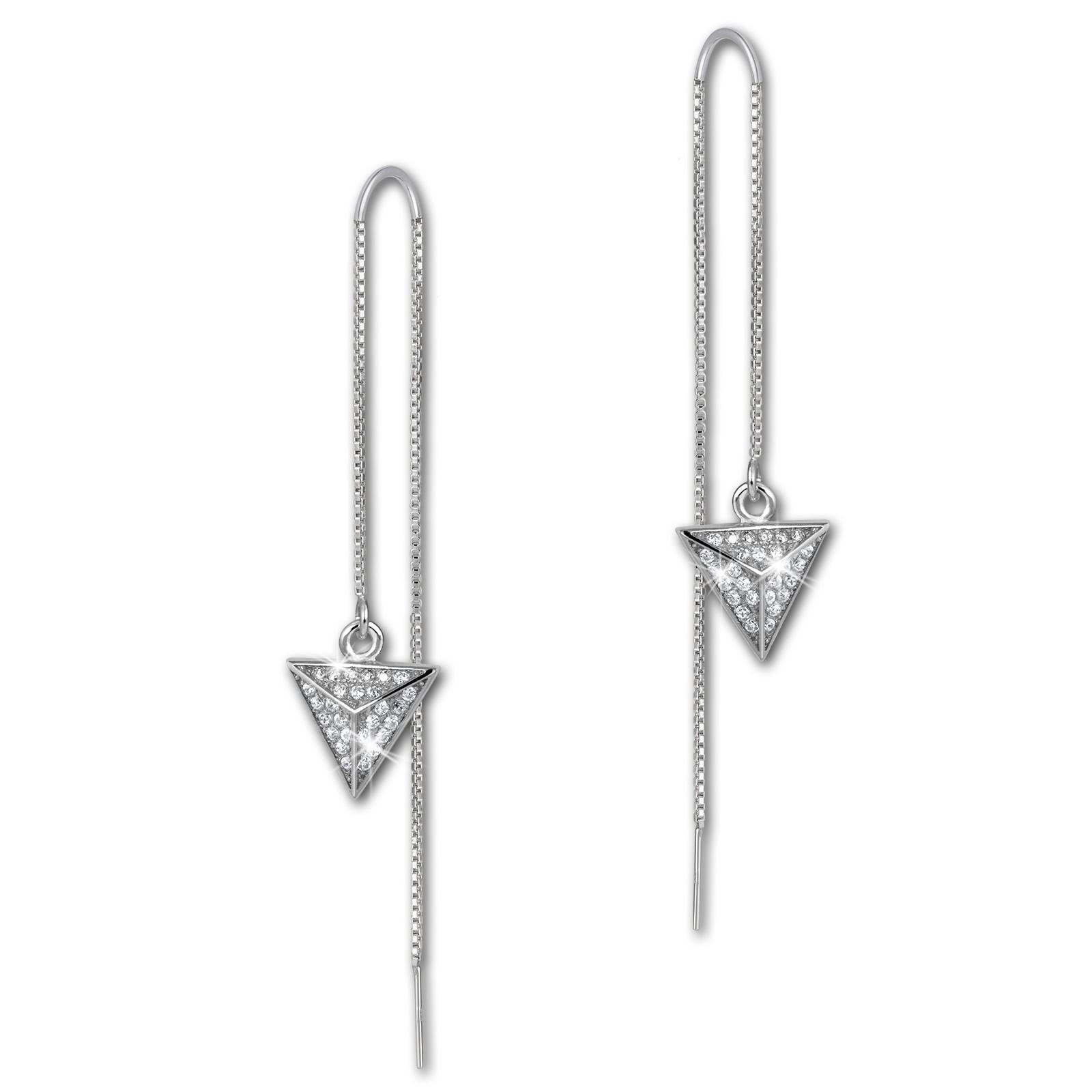 SilberDream Glitzer Ohrhänger Dreieck Zirkonia weiß 925er Silber Ohrring GSO441W