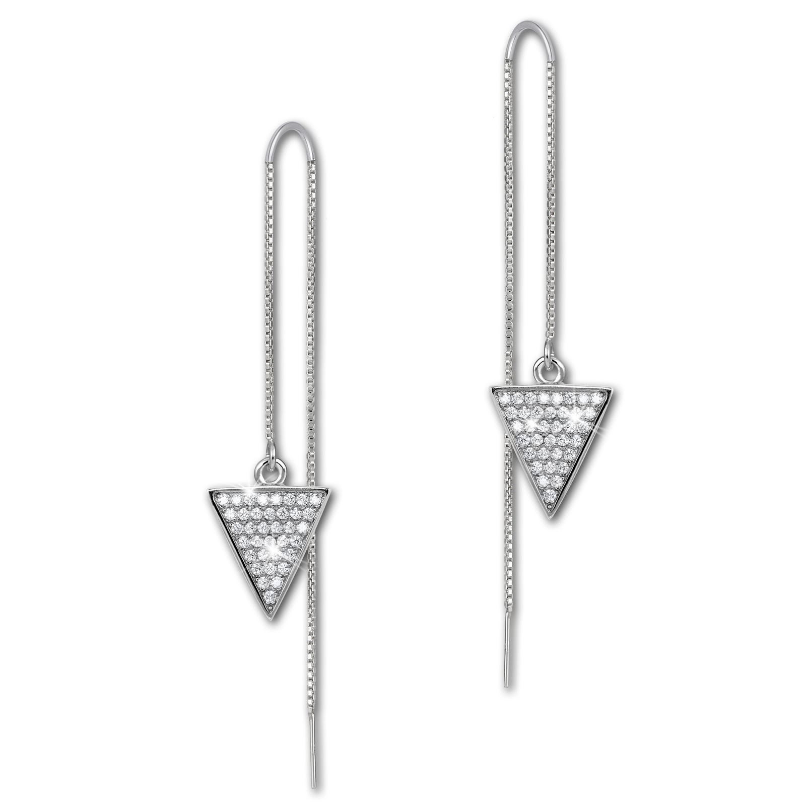 SilberDream Glitzer Ohrhänger Dreieck Zirkonia weiß 925er Silber Ohrring GSO442W